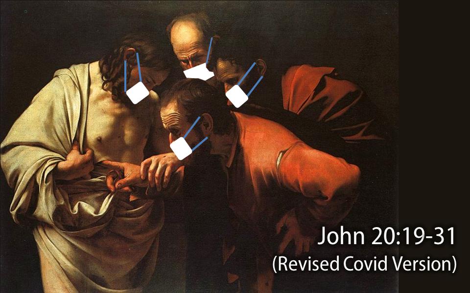 Caravaggio's Doubting Thomas with masks.